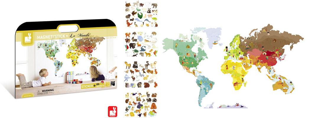wereldkaart als magnetische muursticker
