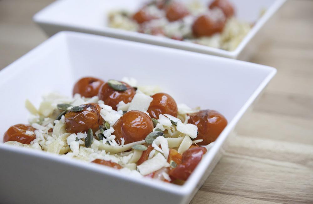 recept voor pasta met tomaatjes uit de oven