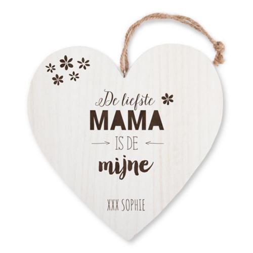houten hart met tekst - moederdag cadeau