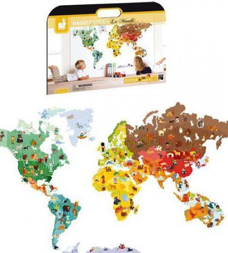 janod wereldkaart magnetische muursticker
