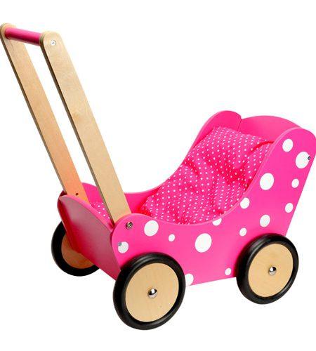 Roze houten poppenwagen met witte stippen - AllinMam.com