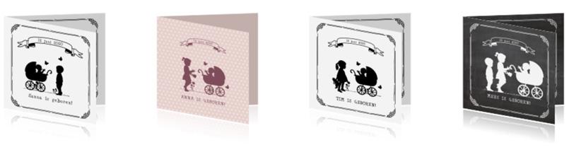 Vintage geboortekaartjes met silhouet - AllinMam.com