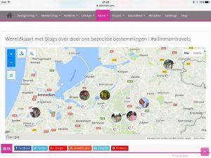 Wereldkaart met blogs op tablet - AllinMam.com