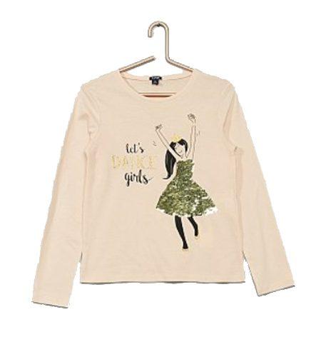 Shirt met danseres van omkeerbare pailletten - AllinMam.com