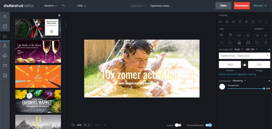 Shutterstock foto editor: gratis online layout programma - AllinMam.com