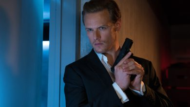 Photo of Outlander ster Sam Heughan als geheim agent in The Spy Who Dumped Me