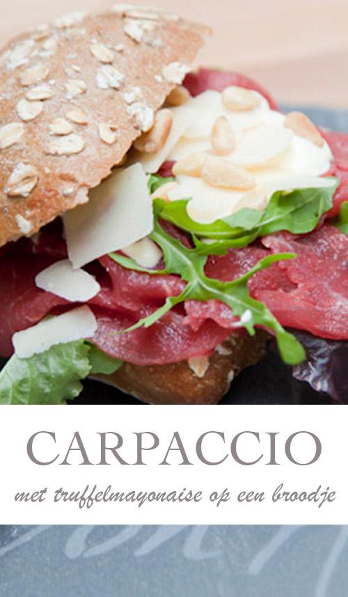 Broodje Carpaccio recept met truffelmayonaise - AllinMam.com
