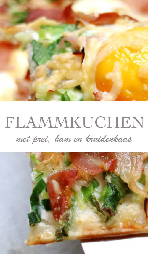 Flammkuchen maken met prei, ham en kruidenkaas - AllinMam.com